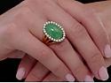 Green Jadeite and Diamond Ring in 18K