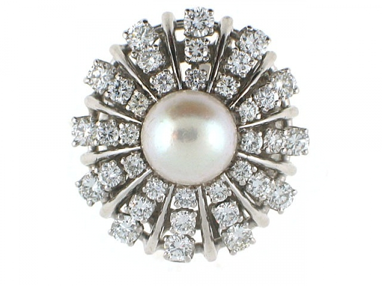 Video of Mid-Century Pearl and Diamond Ring in Platinum