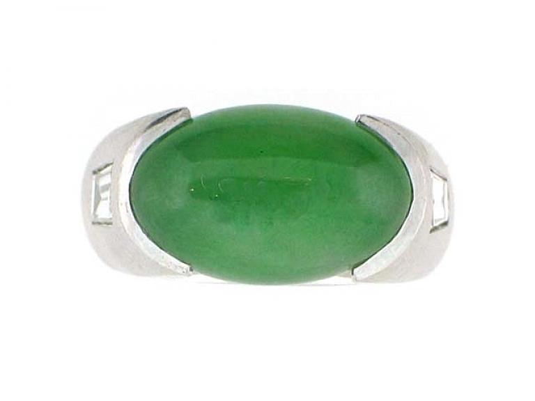 Video of Jadeite and Diamond Ring in Platinum