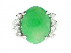 Jadeite and Diamond Ring in Platinum
