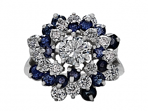 Sapphire and Diamond Cocktail Ring in 18K White Gold