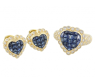 Sapphire and Diamond Heart Ring and Earrings in 18K