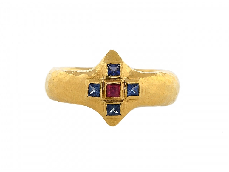 Video of Cathy Waterman Sapphire and Ruby Ring in 22K