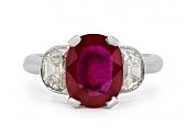 Burma Ruby, 3.02 Carat, and Diamond Ring in Platinum