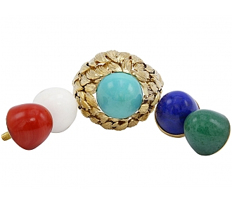 David Webb Multi-Gemstone Ring in 18K Gold