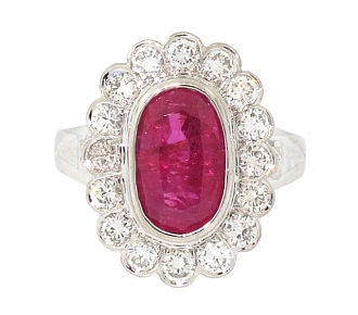 Ruby and Diamond Ring in Platinum