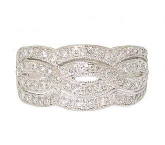 Diamond Ribbon Ring in Platinum