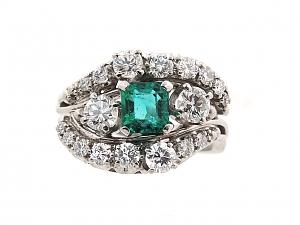 Jabel Emerald and Diamond Ring in Platinum