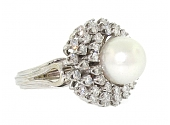 Mid-Century Cultured Pearl and Diamond Ring in Platinum