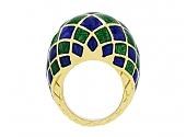 David Webb Enamel Dome Ring in 18K Gold