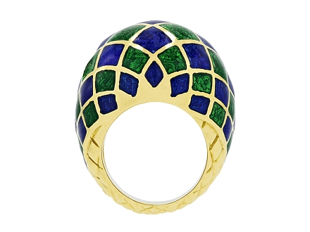David Webb Enamel Dome Ring in 18K Gold