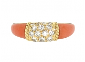 Van Cleef & Arpels 'Philippine' Coral and Diamond Ring in 18K