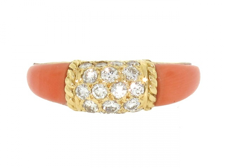 Video of Van Cleef & Arpels 'Philippine' Coral and Diamond Ring in 18K