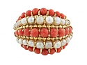 Mid-Century Coral and Pearl 'Twist' Ring in 18K