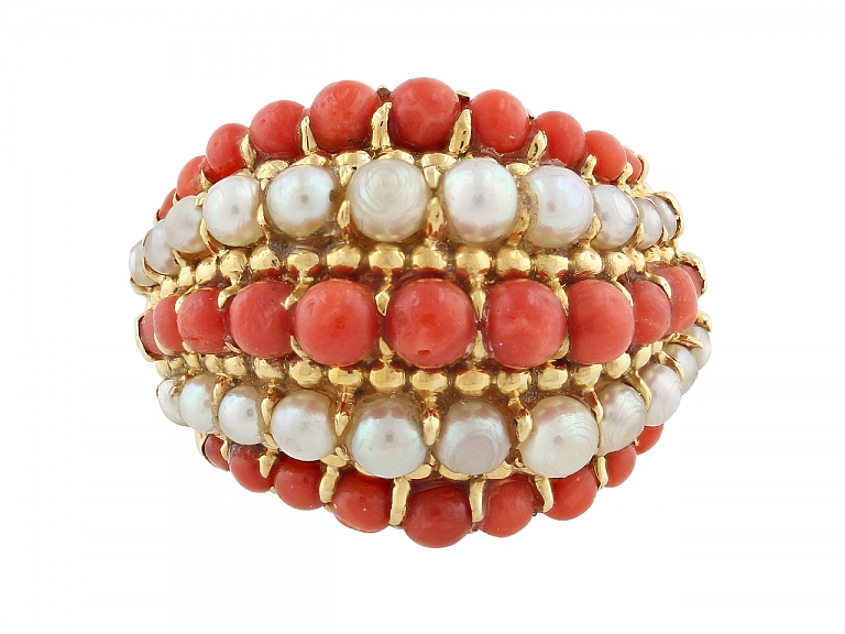 Video of Mid-Century Coral and Pearl 'Twist' Ring in 18K