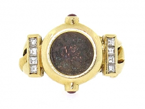 Ancient Coin Link Ring in 18K