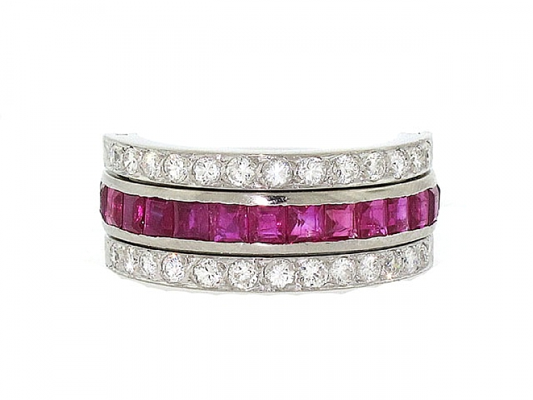 Video of Sapphire, Ruby and Diamond Eternity Flip Ring in Platinum