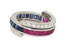 Sapphire, Ruby and Diamond Eternity Flip Ring in Platinum