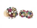 Mid-Century Multi-Gemstone Ring and Earrings in 18K