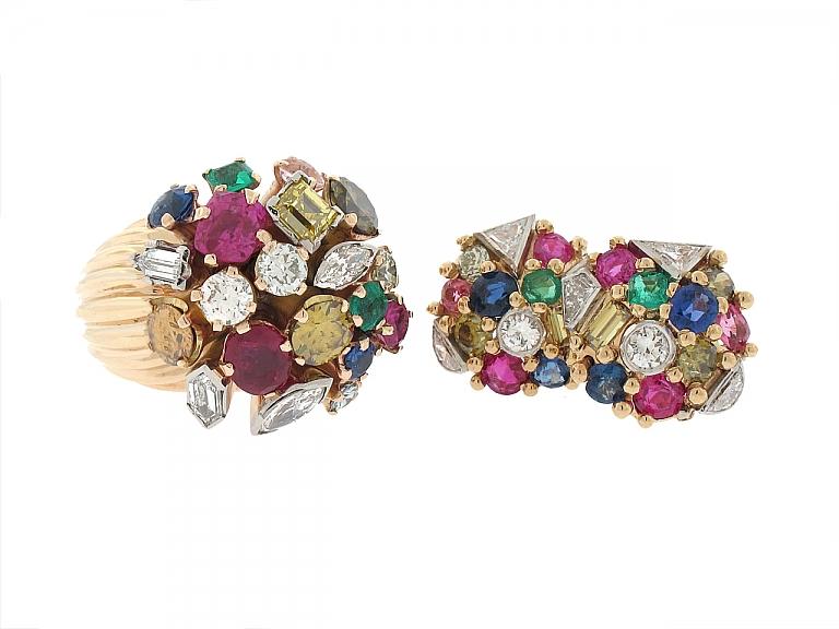 Video of Mid-Century Multi-Gemstone Ring and Earrings in 18K