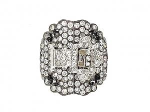 Diamond Buckle Ring in 18K