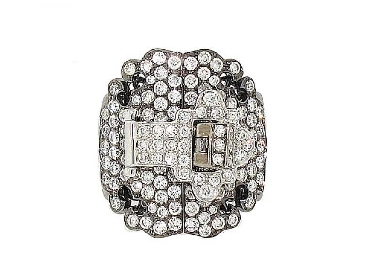 Video of Diamond Buckle Ring in 18K