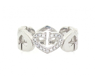 Cartier Double C Heart Ring with Diamonds in 18K