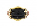 Black Onyx, Coral and Diamond Ring in 18K