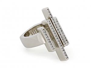 Modernist Diamond Ring in 14K White Gold