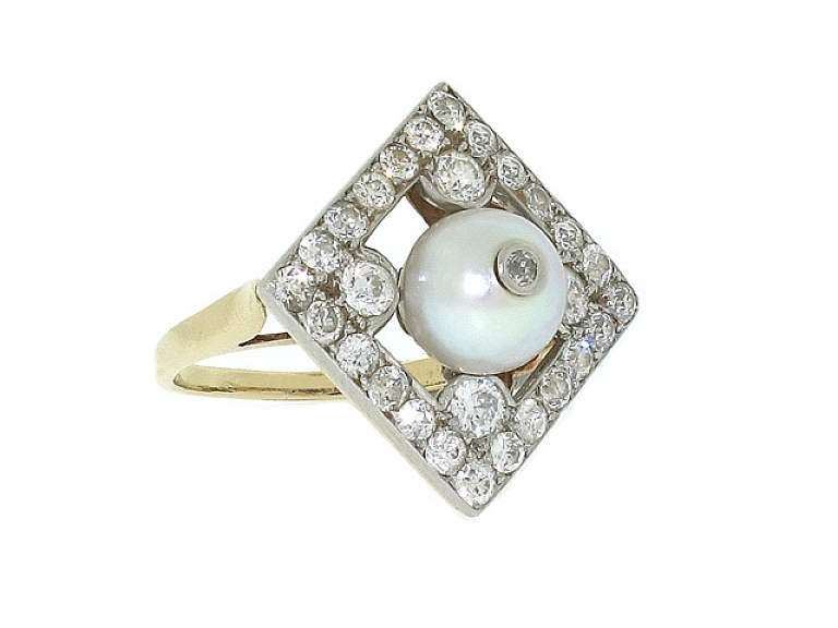 Video of Antique Edwardian Cultured Pearl and Diamond Ring in 14K and Platinum