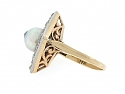 Antique Edwardian Cultured Pearl and Diamond Ring in 14K and Platinum