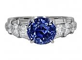Sapphire, 3.38 Carat No Heat, and Diamond Ring in Platinum