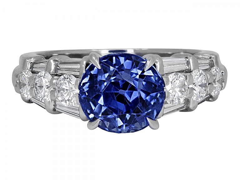 Video of Sapphire, 3.38 Carat No Heat, and Diamond Ring in Platinum