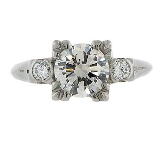 Mid-Century 0.96 Carat J/SI-1 Diamond Engagement Ring in Platinum