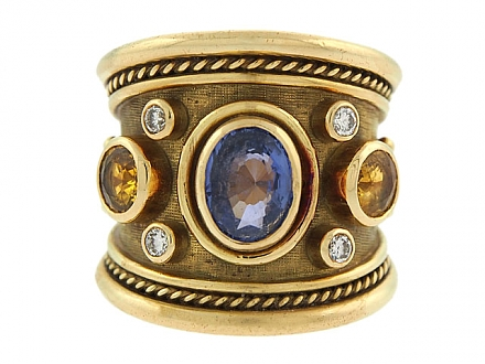 Elizabeth Gage Sapphire 'Tapered Templar' Ring in 18K Gold