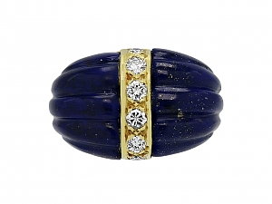Lapis and Diamond Ring in 18K Gold