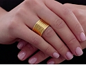 Wide Gold Band Ring in 18K
