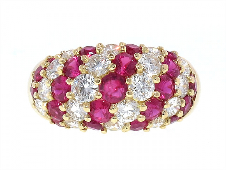 Video of Mark Patterson Ruby and Diamond Dome Ring in 18K