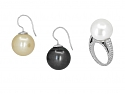 Set of South Sea Pearl and Diamond Ring and Earrings in 18K White Gold and Platinum