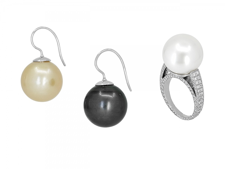 Video of Set of South Sea Pearl and Diamond Ring and Earrings in 18K White Gold and Platinum