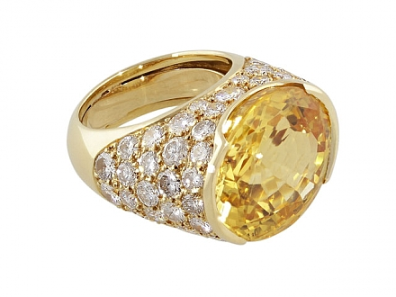 Yellow Sapphire and Diamond Ring in 18K