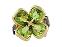 Chanel Peridot and Iolite Clover Flower Ring in 18K