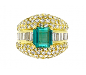 Hammerman Brothers Emerald and Diamond Ring in 18K
