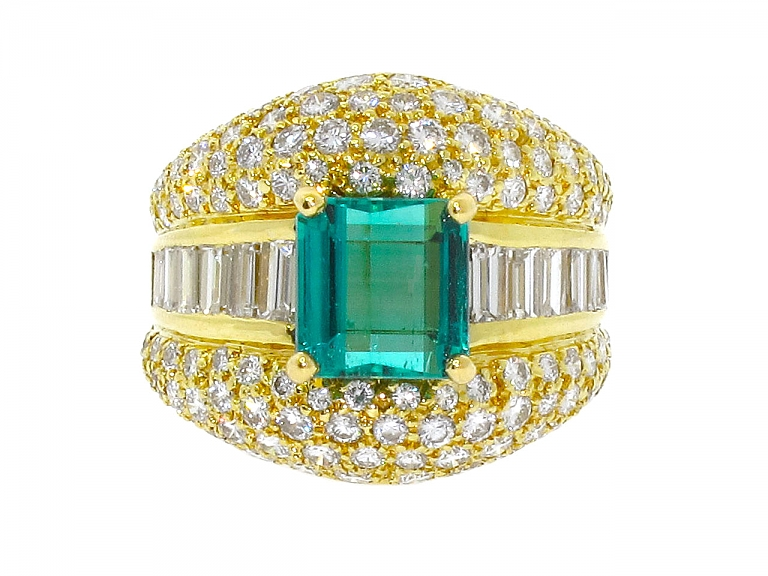 Video of Hammerman Brothers Emerald and Diamond Ring in 18K