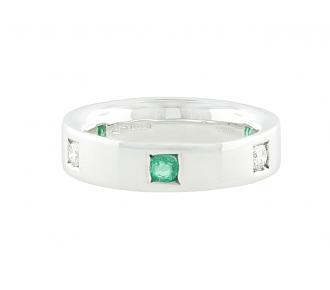Damiani Emerald and Diamond Ring in 18K