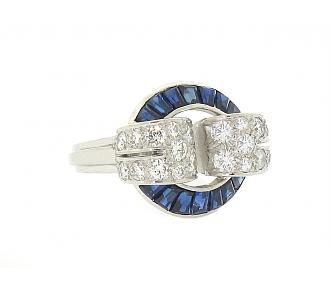 Oscar Heyman Retro Sapphire and Diamond Ring in Platinum