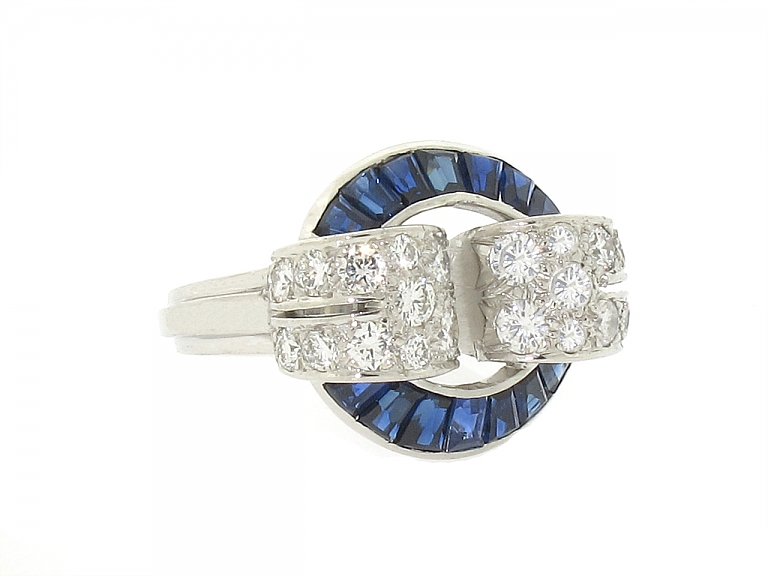 Video of Oscar Heyman Retro Sapphire and Diamond Ring in Platinum