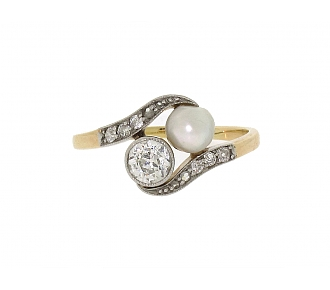 Antique Edwardian Natural Pearl and Diamond Ring in Platinum and Gold