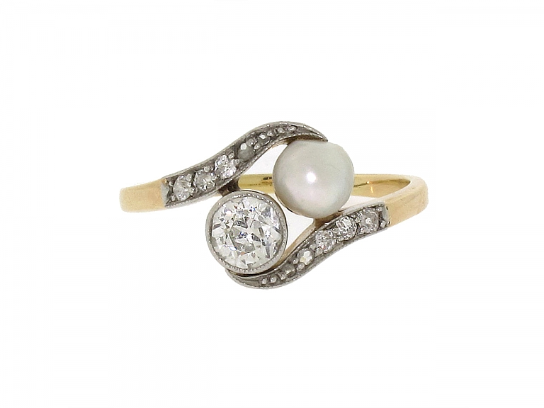 Video of Antique Edwardian Natural Pearl and Diamond Ring in Platinum and Gold