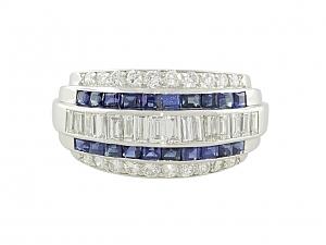 Sapphire and Diamond Ring in Platinum